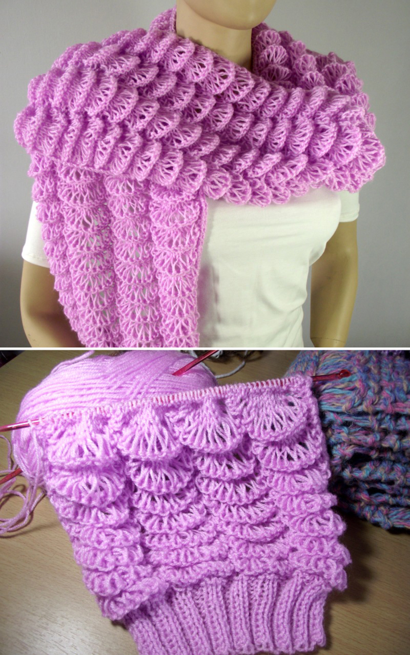 Fluffy-knit-shawl-with-lemon-stitch