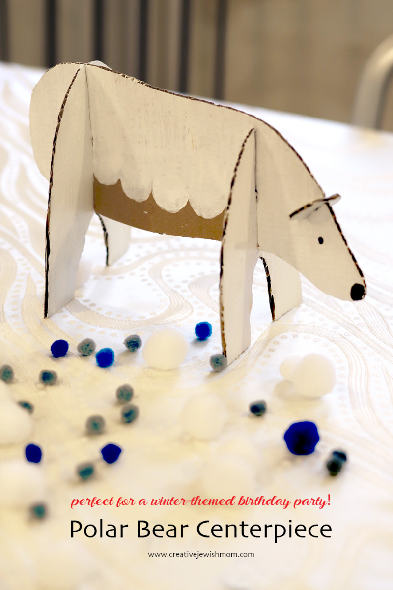 DIY cardboard polar bear centerpiece
