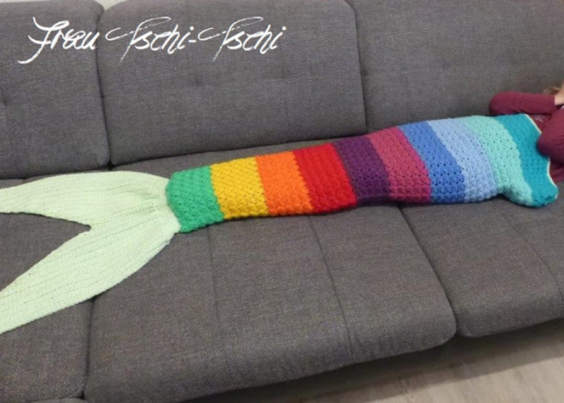 Crocheted-rainbow-mermaid-tail-blanket