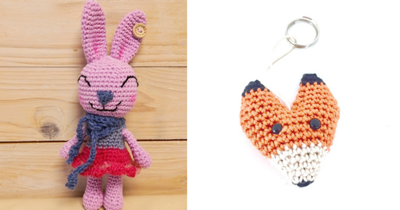 Crocheted amigurumi rabbit crochet-fox-keyring