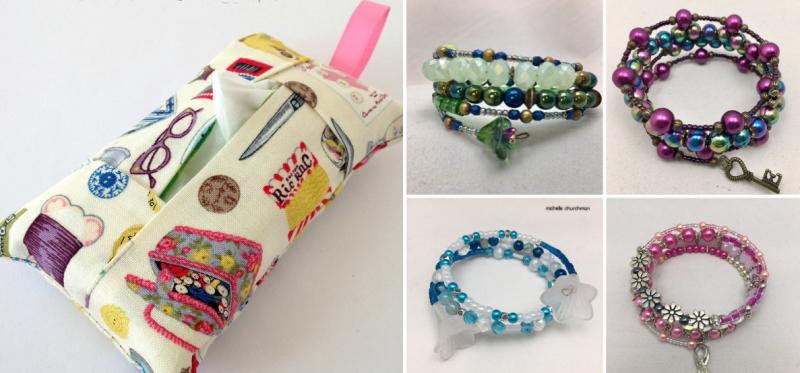 Tissue-pouch-scrap-buster memory-wire-bracelets
