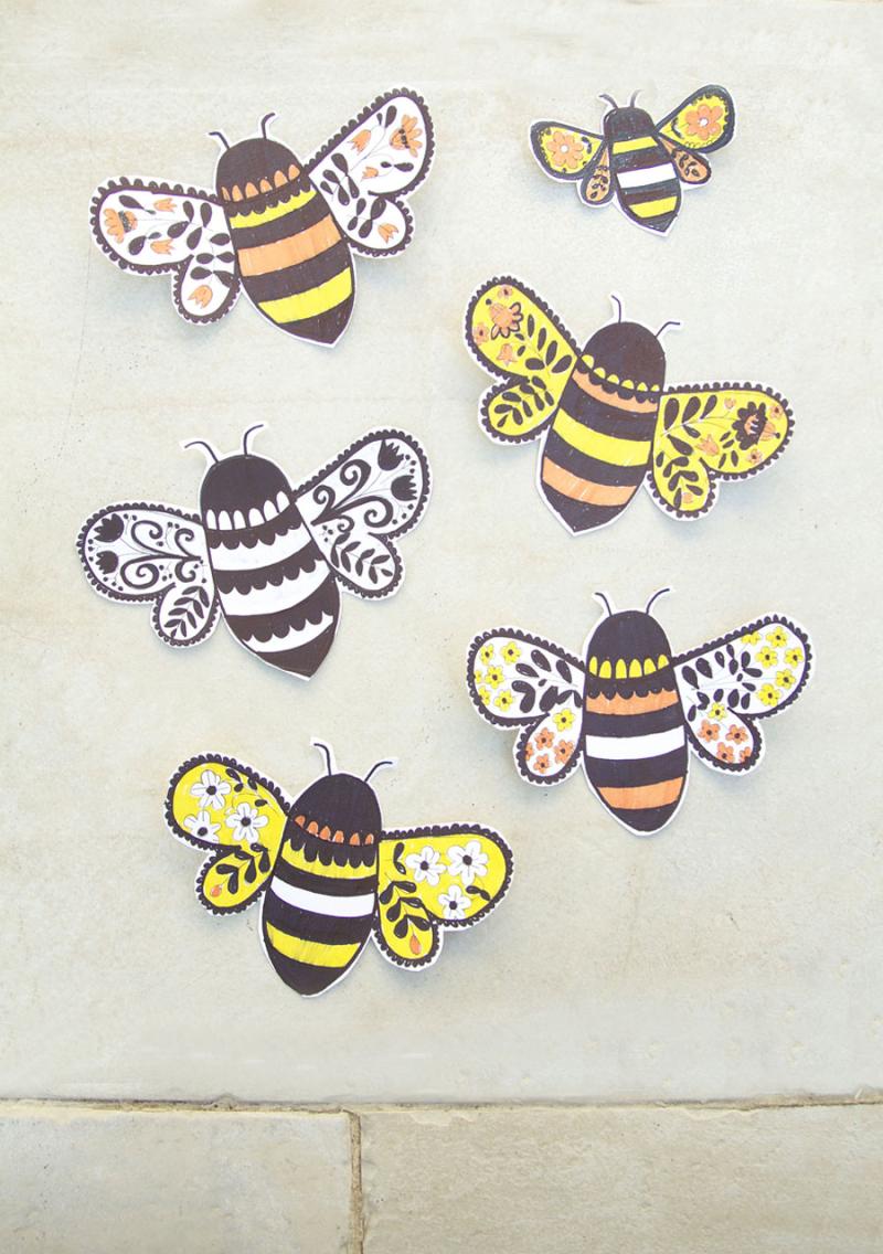 Folk-art-bee-drawings