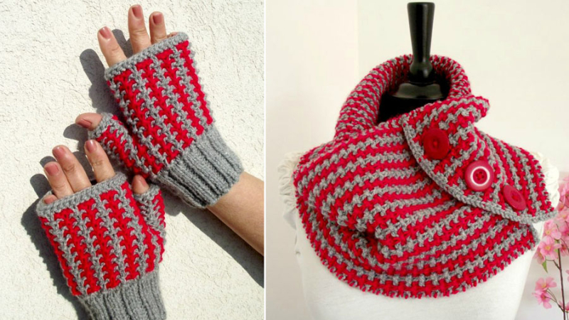Knit-cowl-with-matching-hand-warmers