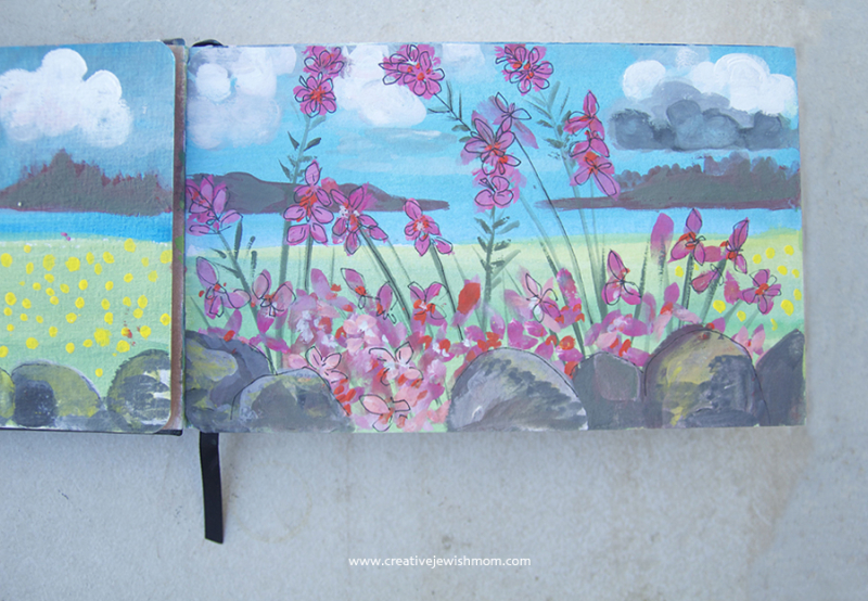 Sketchbook-gouche-landscape-with-flowers
