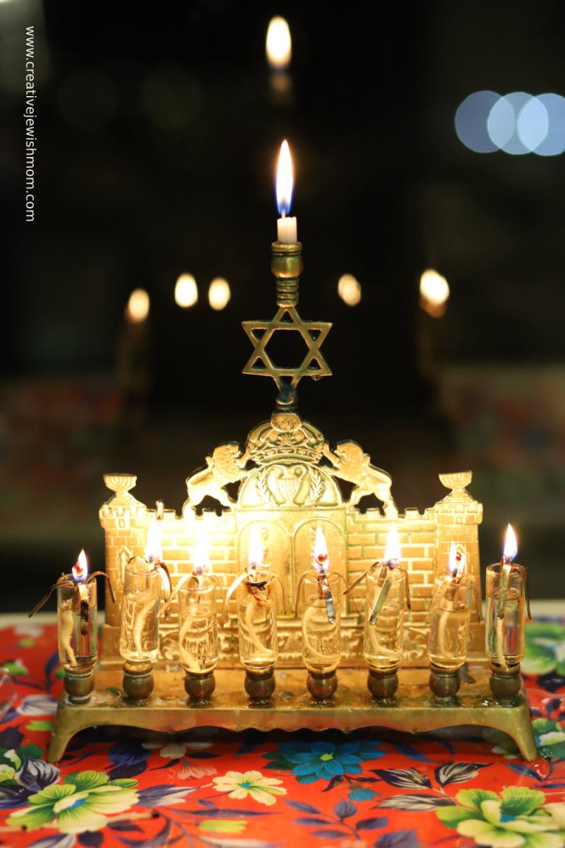 Antique-brass-hanukkah-menorah