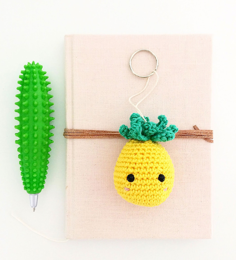 Crocheted-pineapple-keychain