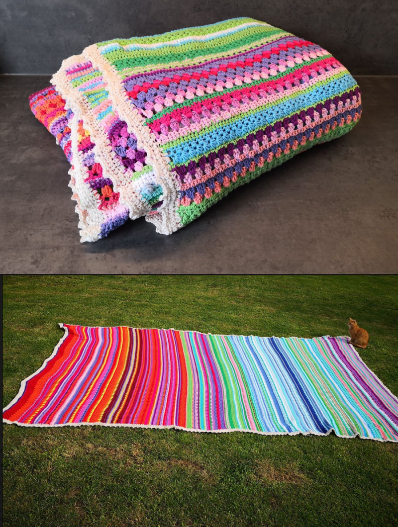 Crocheted-king-size-temperature-striped-blanket