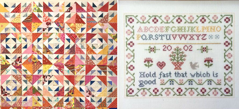 Cross-stitch-sampler-simple quilt-top