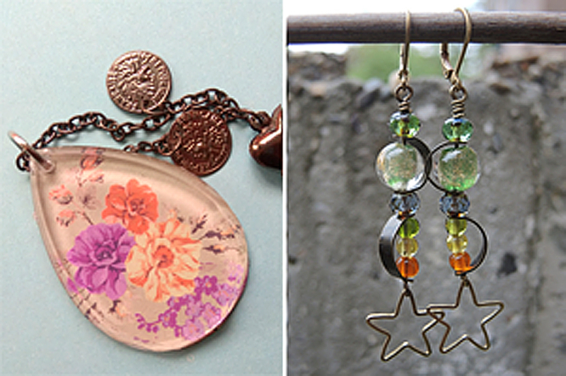 Decoupage cabachon star and bead earrings