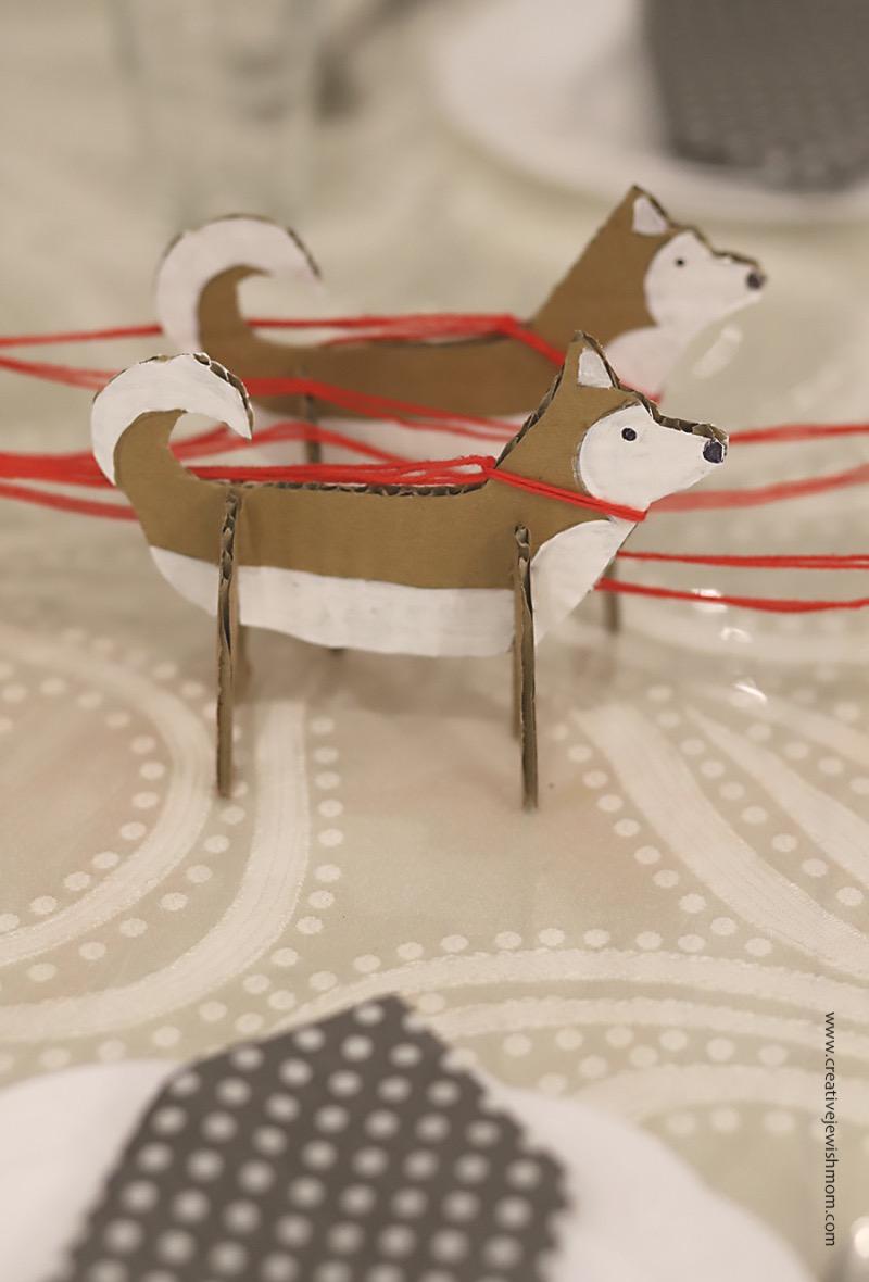 Cardboard-huskies-birthday-centerpiece