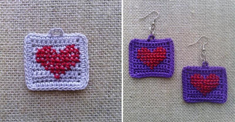 Crochet-heart-earrings wth cross stitch