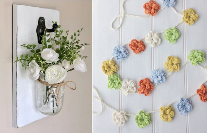 DIY-mason-jar-wall-vase crocheted-flower-garland