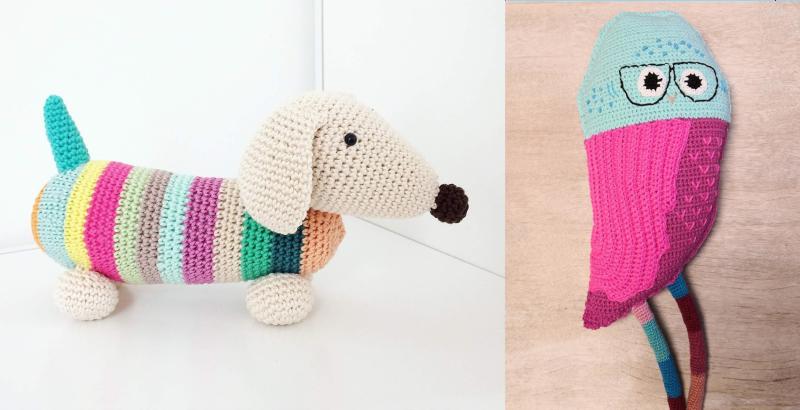 Crocheted-owl-stuffie-crocheted-daschund