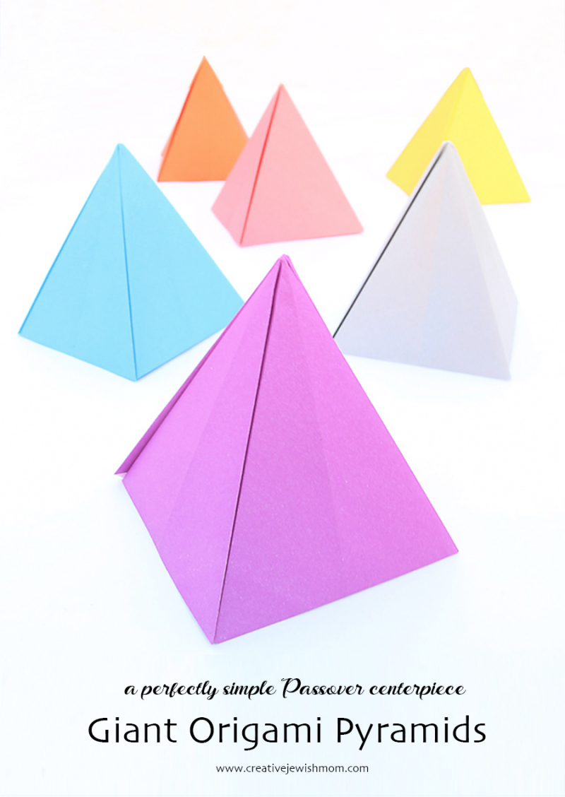 Giant-origami-pyramids-passover-craft