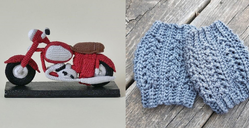 Crocheted-motorcycle crocheted-boot-cuffs