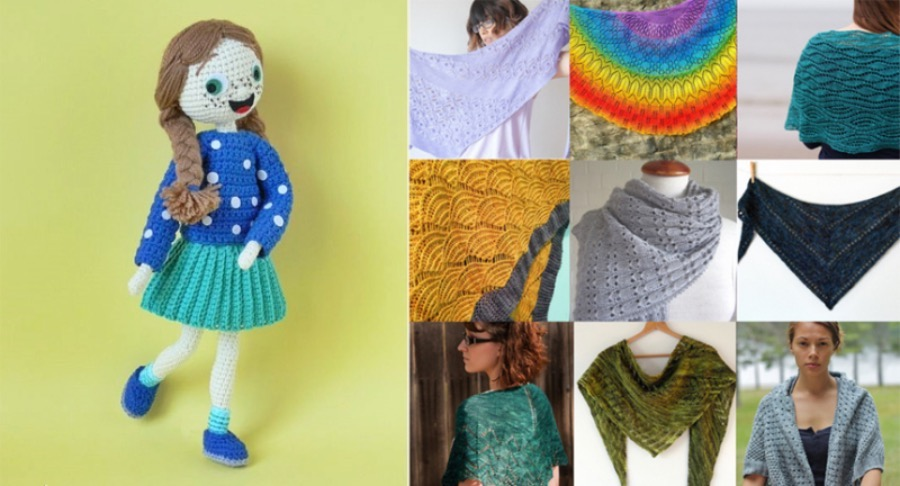 Knit-lacy-shawl-free-patterns crocheted-girl-doll