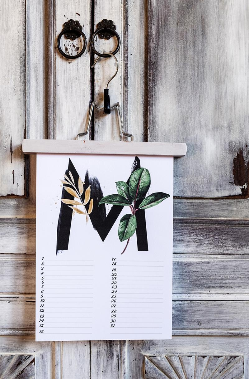Linear-calendar-botanical