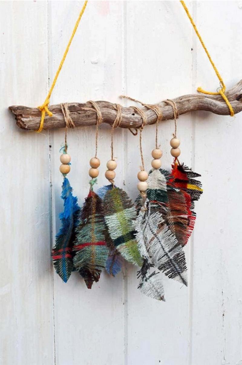 Tartan-fabric-fringe-feathers