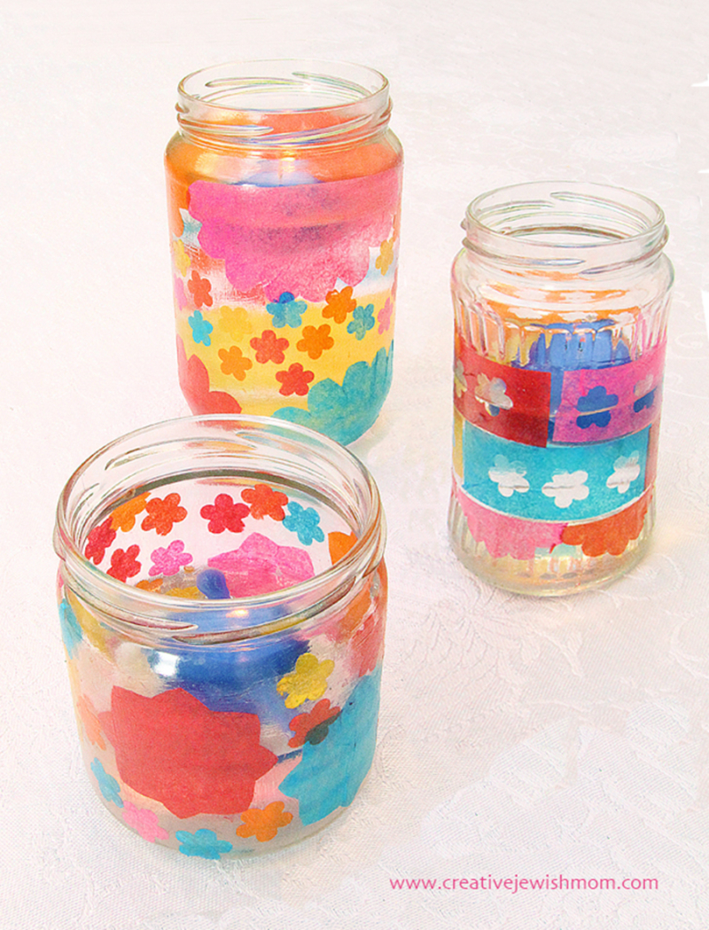 Jars-with-tissue-paper-decoupage