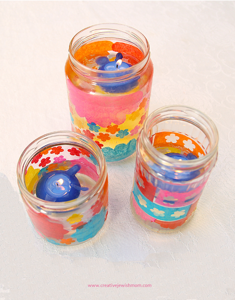 Tissue paper decoupage candle jars
