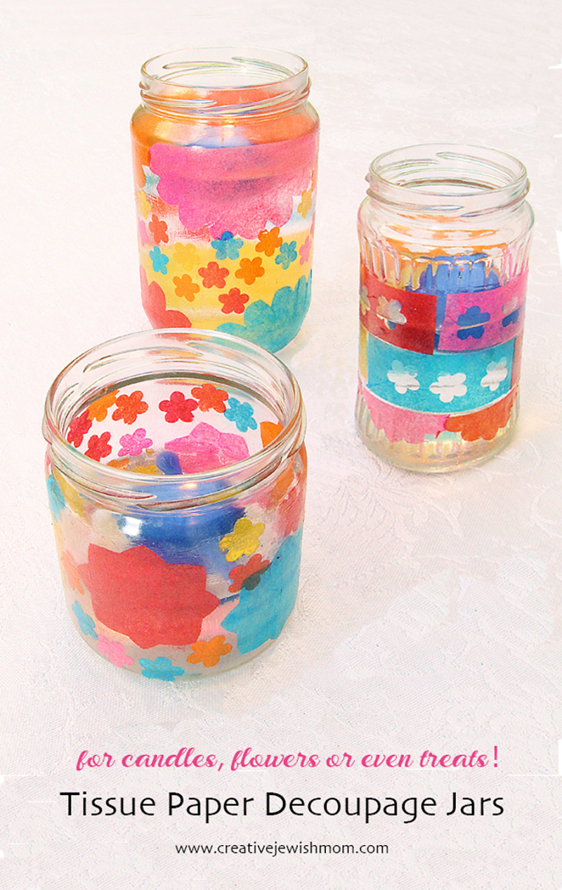 Decoupage-with-tissue-paper-jars