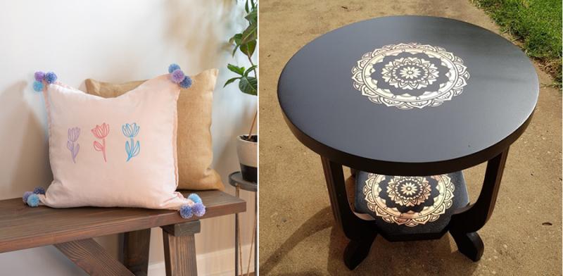 Stenciled-mandala-on-coffee-table