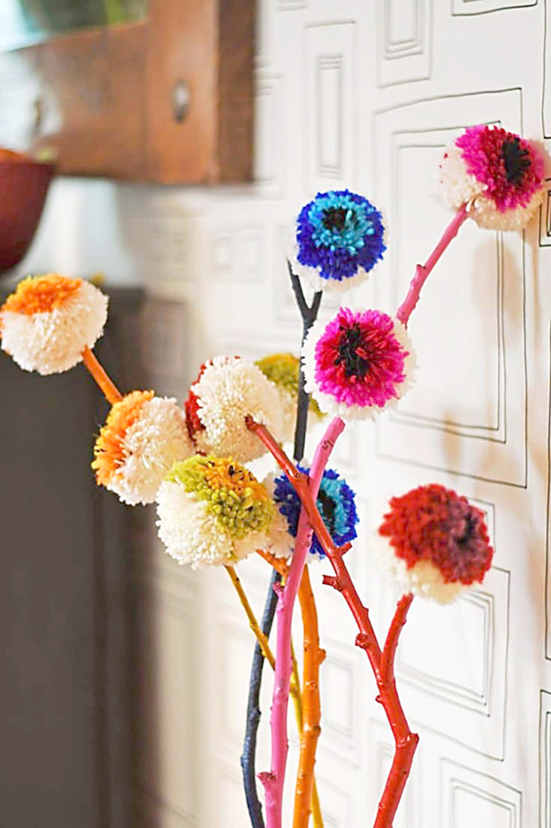 Pom-pom-flowers-on-painted-branches