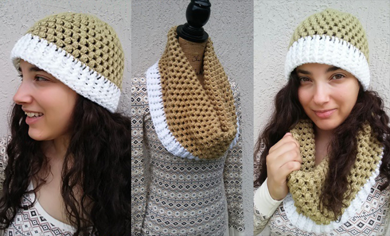 Crochet-running-granny-stitch-hat-cowl-set