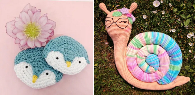Crocheted-snail-according-to-weather