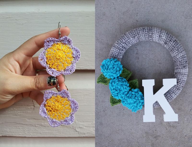 Crochet-flower-hoop-earrings crochet-wreath