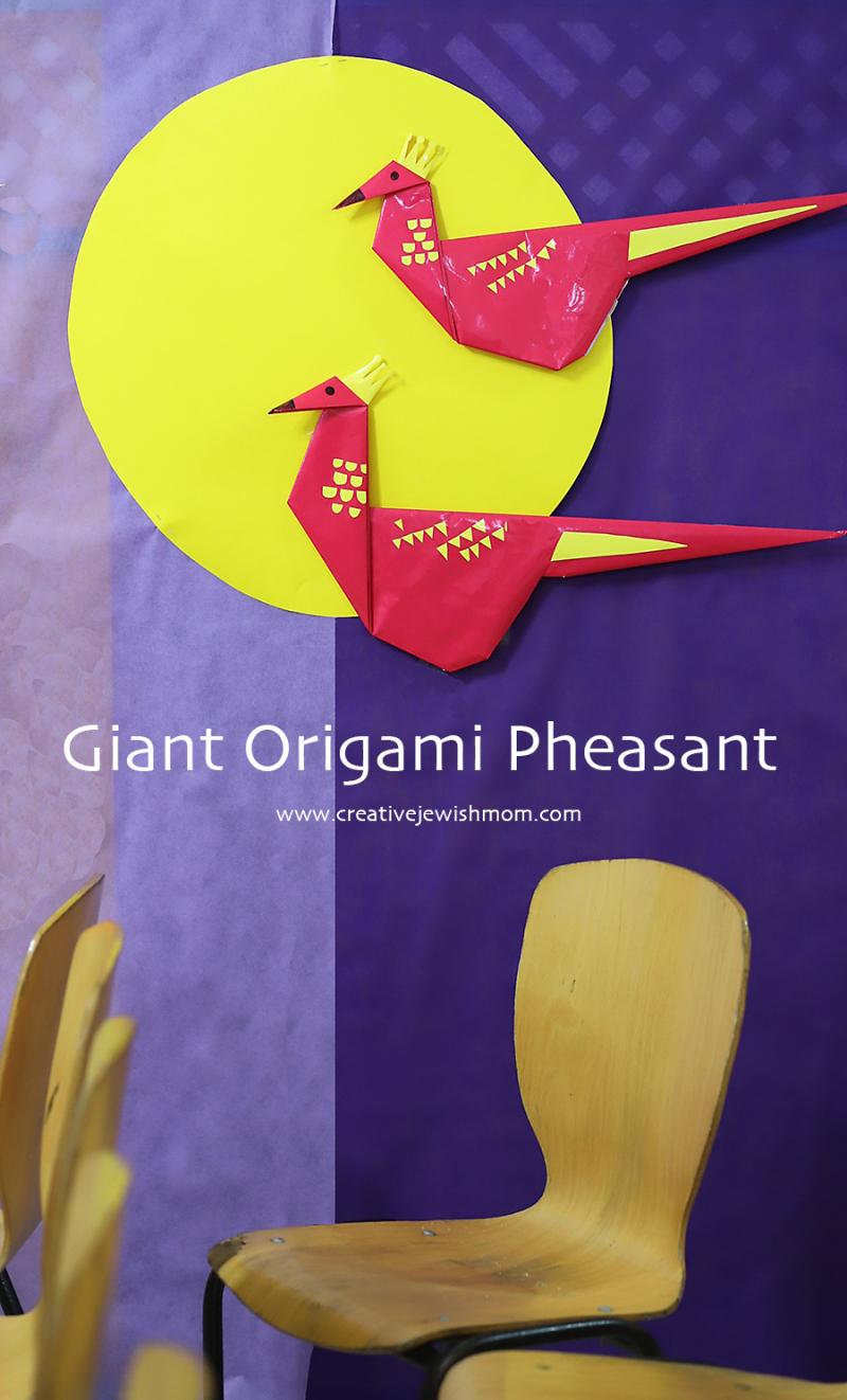 Giant-origami-pheasant-stage-set