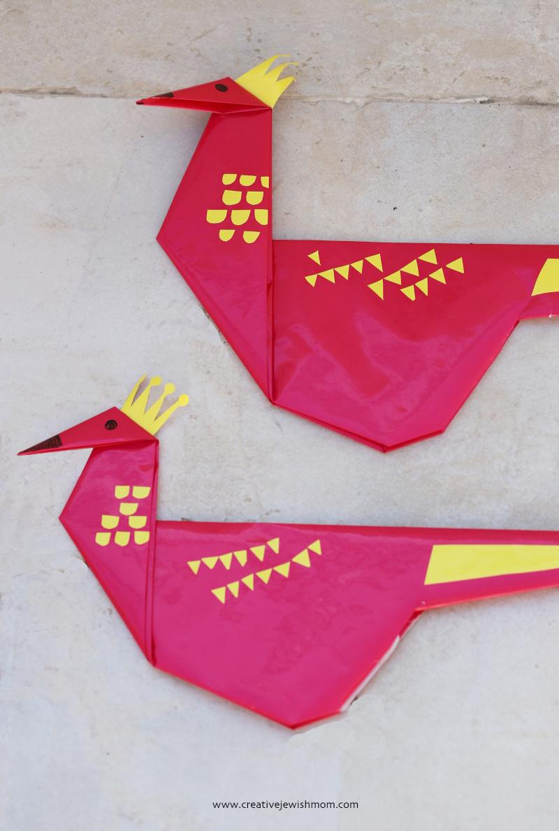 Giant-origami-pheasant-bird