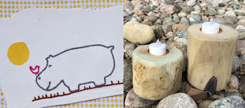 Hippo-embroidery drift-wood-look-candle-holders