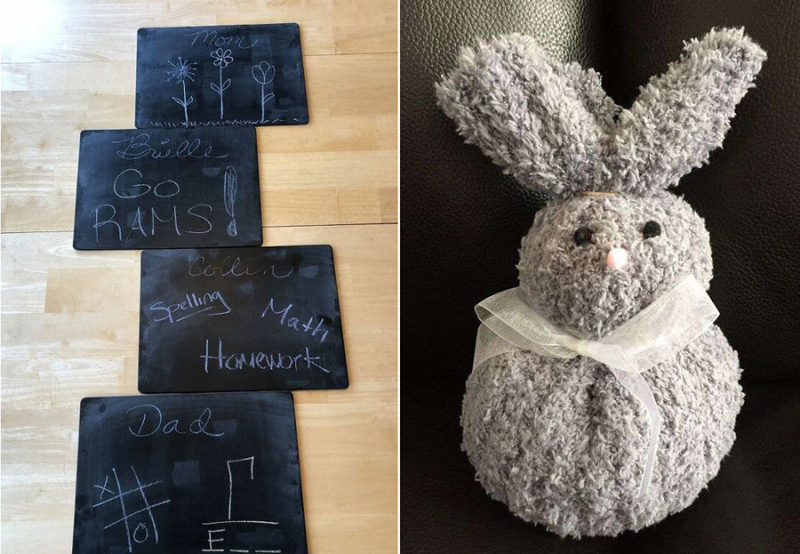 Sock-bunny-with-rice chalkboard-placemats