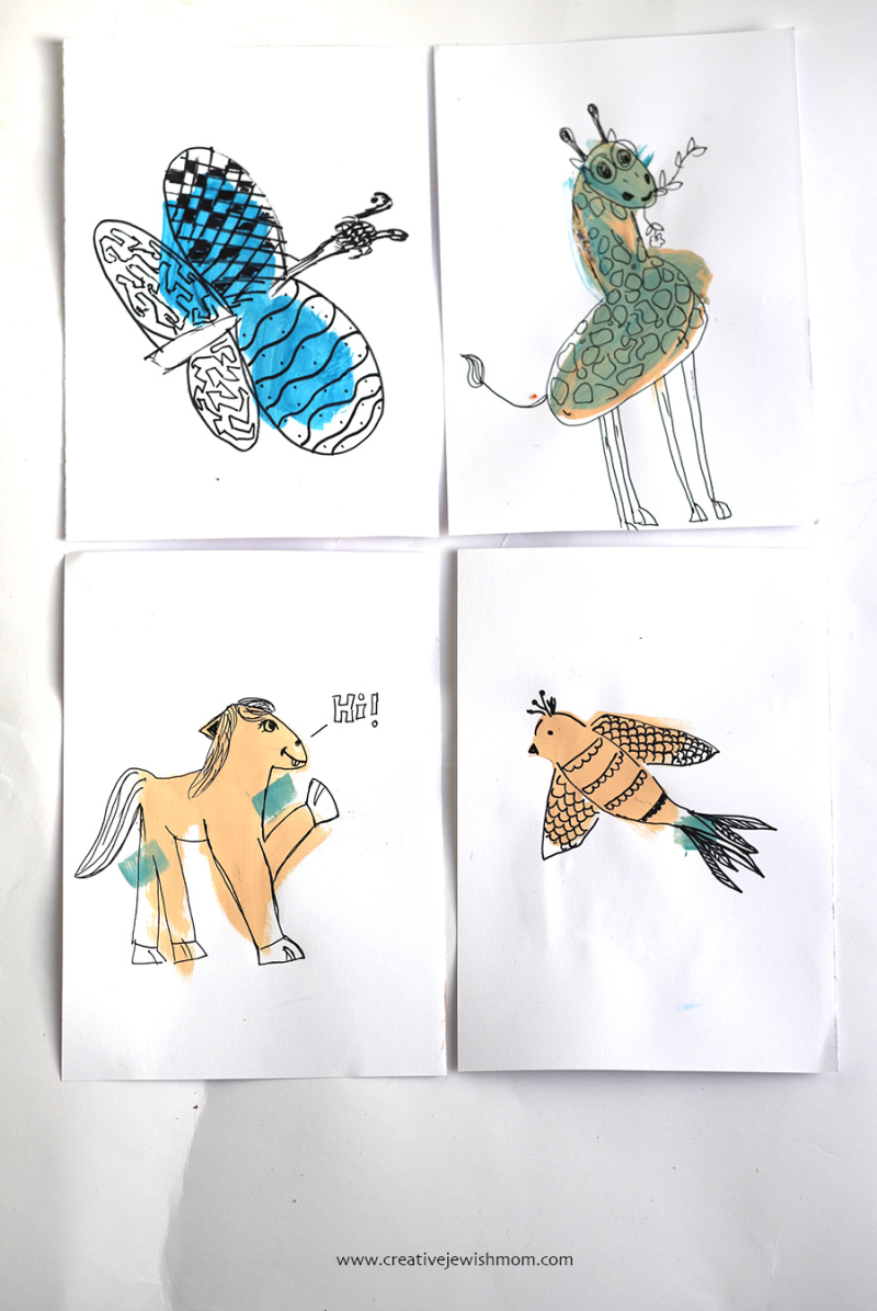 Paint-blob-animals-drawing-for-kids