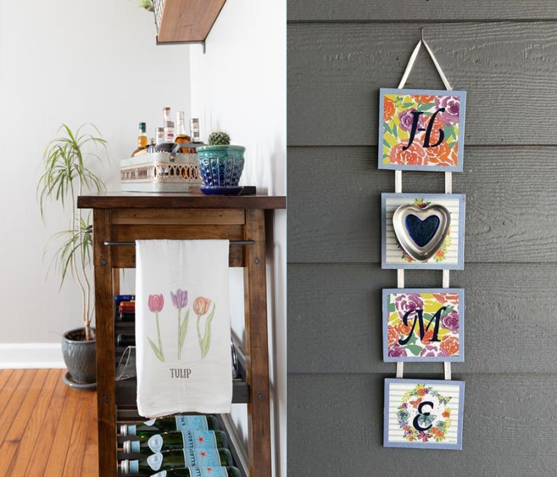 Spring-dish-towel-DIY simple-spring-art