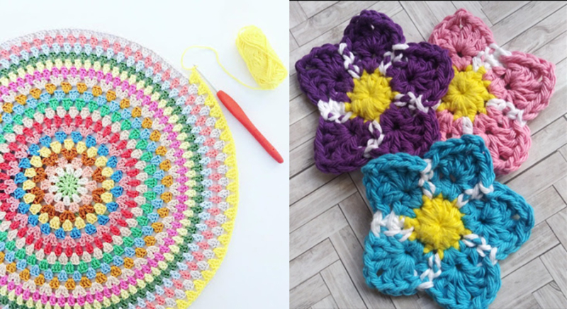 Round-granny-pillow crochet-forget-me-not