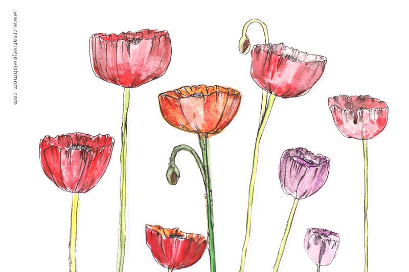 Watercolor poppy cutouts