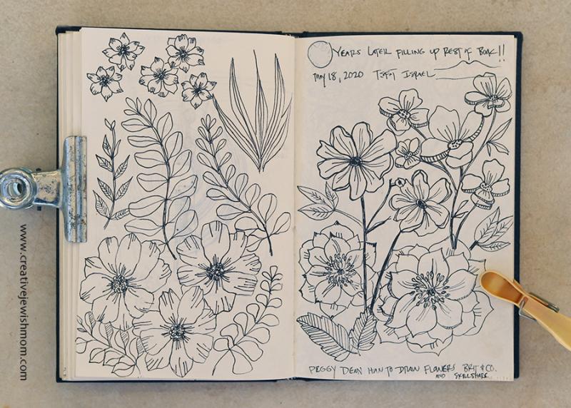 Sketchbook floral frame