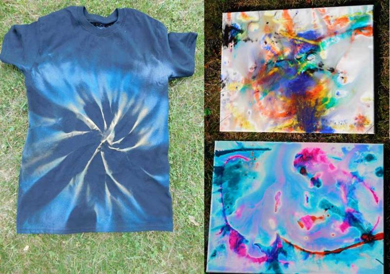 Spray-painted-tie-dye-shirt water-balloon-art
