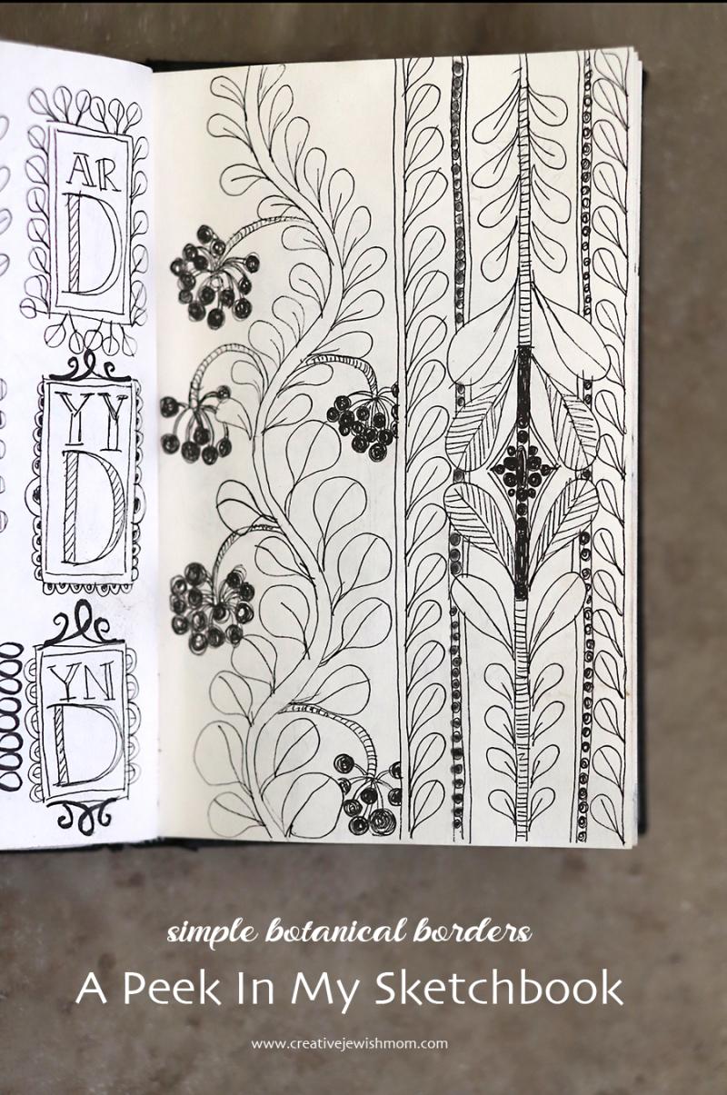 Botanical-borders-for-sketchbook-practice