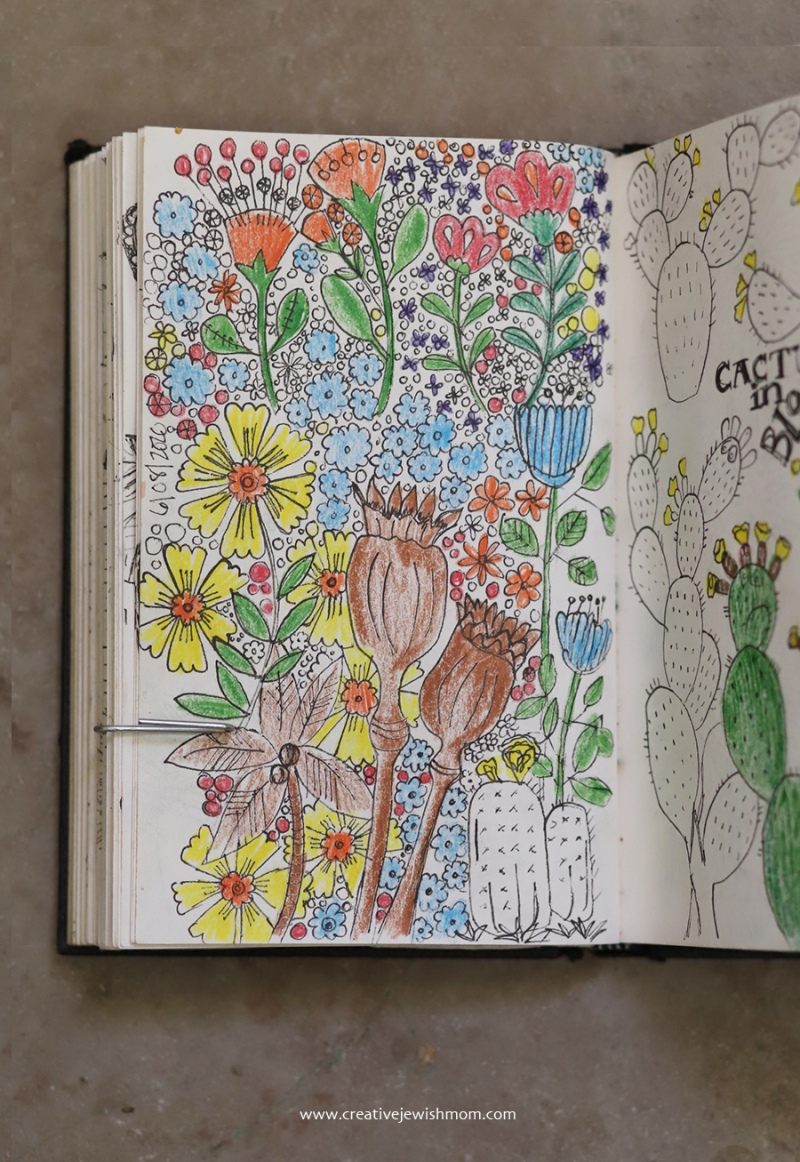Sketchbook-florals-with-colored-pencil