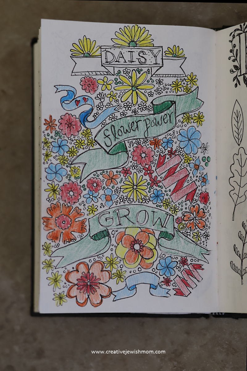 Sketchbook-flowers=with-colored-pencil