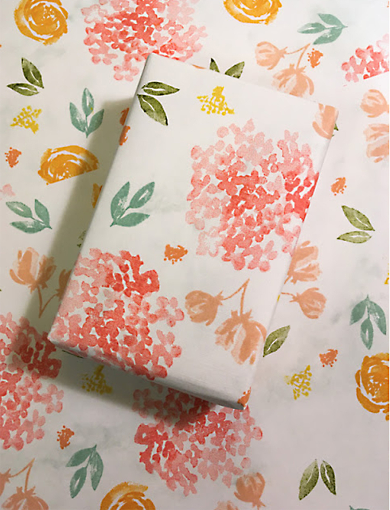 Hand-stamped-floral-wrapping-paper