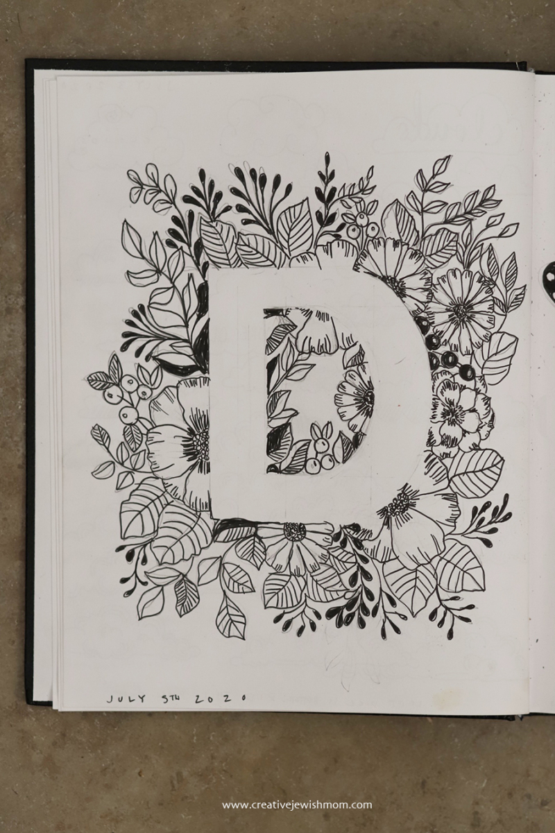 Flowers-and-leaves-letter