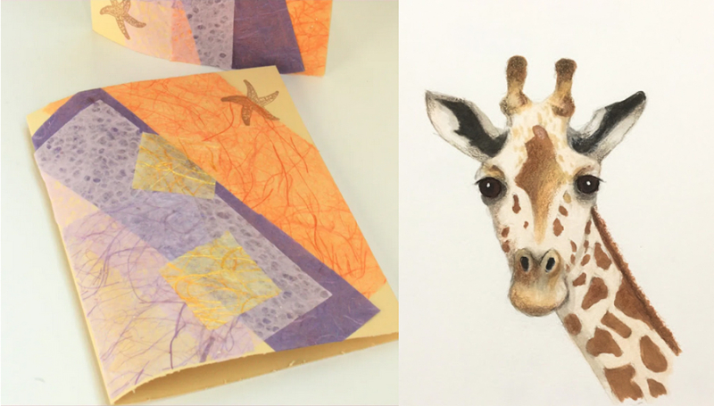 Giraffe-drawing beach-inspired-greeting-card
