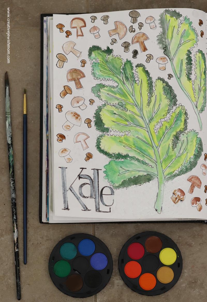 Kale-watercolor-sketch-simple-kohi-nor