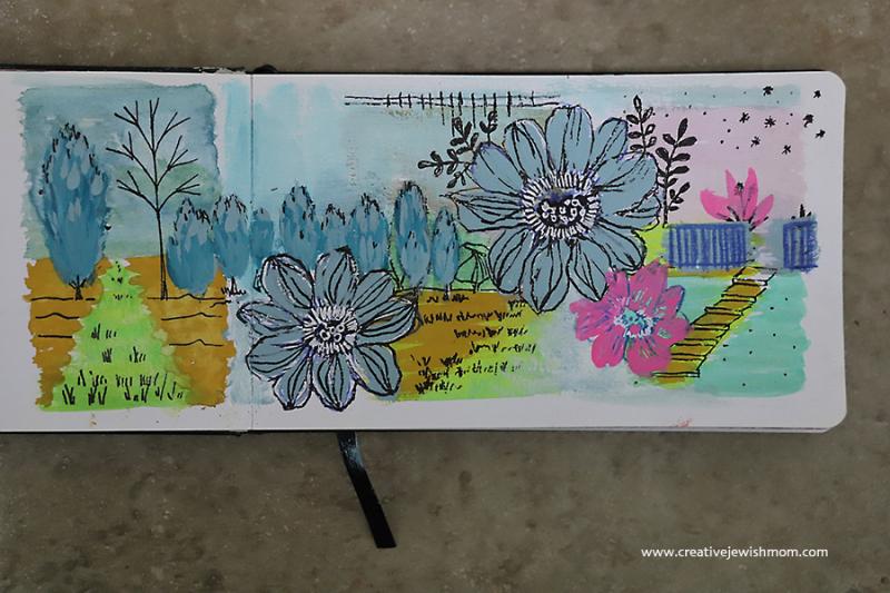 Flower-drawings-over-watercolor