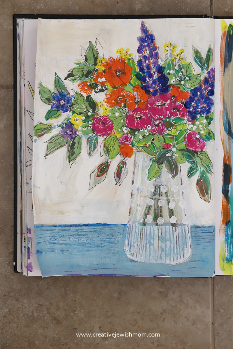Mixed-media-painted-vase-of-flowers