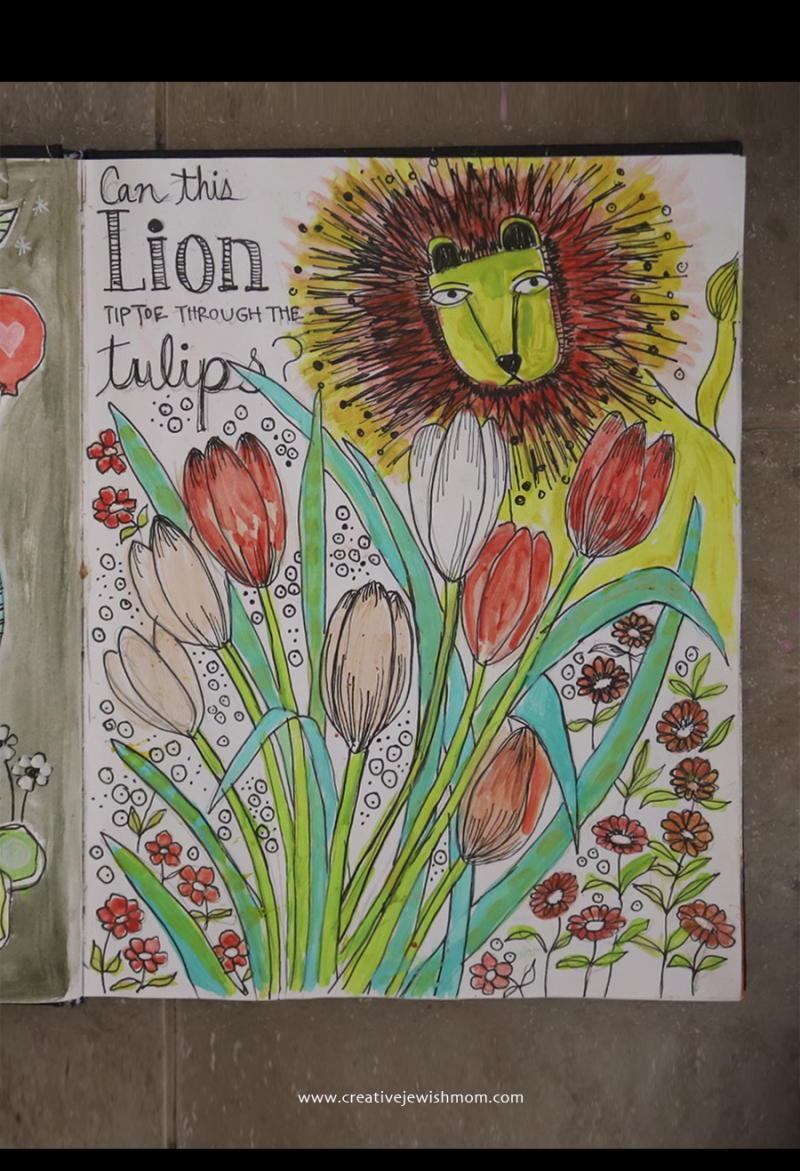 How-to-draw-lion-with-tulips-watercolor